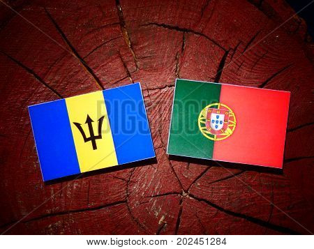 Barbados Flag With Portuguese Flag On A Tree Stump Isolated