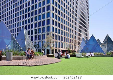 TEL AVIV ISRAEL- APRIL 2017: Rest area in the business center. Azrieli Center in Tel Aviv