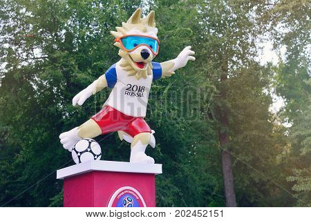 ROSTOV-ON-DON RUSSIA - AUGUST 2017 The official mascot of the 2018 FIFA World Cup and the Confederations Cup 2017 wolf Zabivaka.