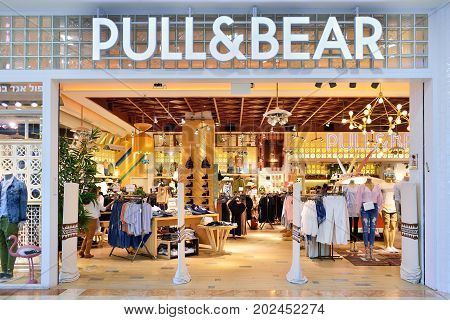 TEL AVIV ISRAEL - APRIL 2017: Pull & Bear retail clothing store in Tel Aviv Israel. Pull & Bear is a Spanish clothing and accessories retailer.