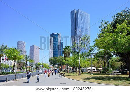 TEL AVIV ISRAEL - APRIL 2017: Azrieli shopping center in Tel Aviv Israel. Azrieli mall together with three tall office buildigs is the landmark of Tel Aviv.