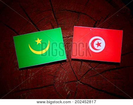 Mauritania Flag With Tunisian Flag On A Tree Stump Isolated