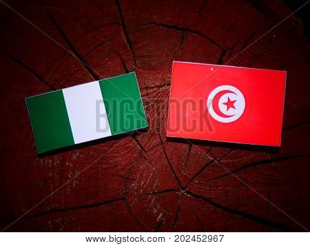 Nigerian Flag With Tunisian Flag On A Tree Stump Isolated