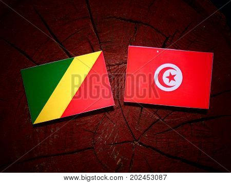 Republic Of The Congo Flag With Tunisian Flag On A Tree Stump Isolated