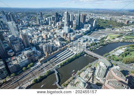 MELBOURNE, AUSTRALIA - FEBRUARY 20 2016: Melbourne CBD above view from Eureka building the highest building in Melbourne, Australia.