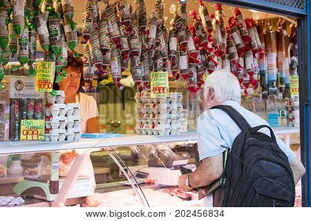 BUDAPEST, HUNGARY - 17 AUGUST 2017: The big central market of Budapest, a place of visiting of tourists for purchases of sausages of a paprika of souvenirs.