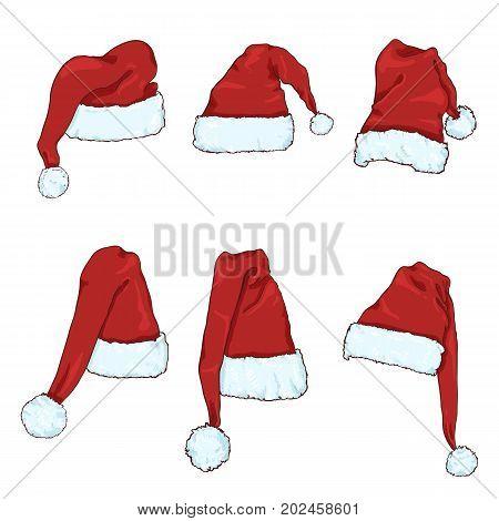 Vector Set Of Red Santa Claus Hats.