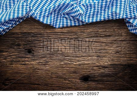 Oktoberfest. The Blue Checkered Tablecloth Or Napkin Typical Of The Munich Beer Festival In The Germ