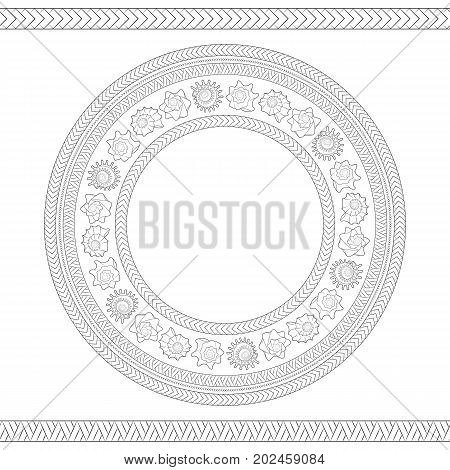 Seamless pattern with shells and Polynesian patterns. Vector black and white round illustration.