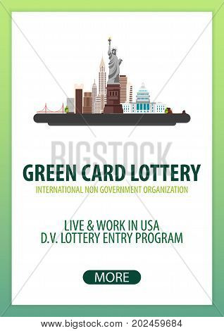 Green Card Lottery Banner. Immigration And Visa To The Usa.