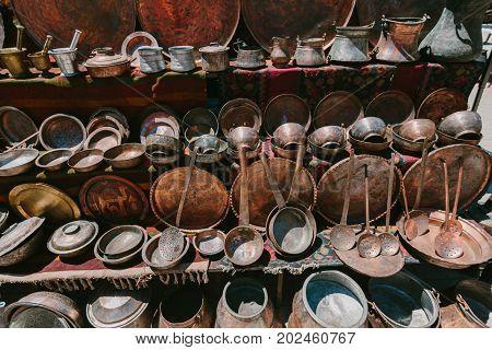 Ancient copper ware. Flea market Vernissage Yerevan, Armenia