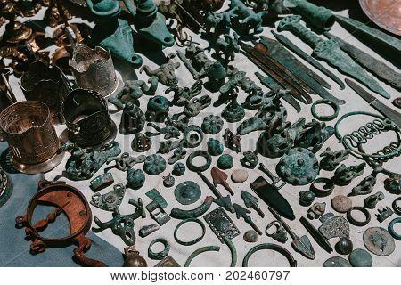 Ancient metal objects. Flea market Vernissage Yerevan, Armenia