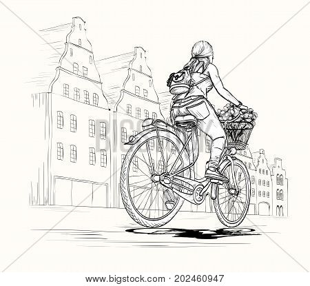 Bicyclist girl in city, hand drawn vector illustration. Black and white.