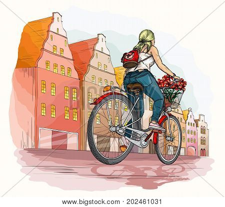 Bicyclist girl in city, hand drawn vector illustration