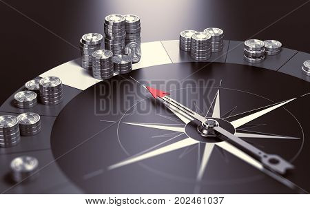 Compass over black background with needle pointing the biggest pile of money Concept of making profits and good investment advice or wealth management. 3D illustration.