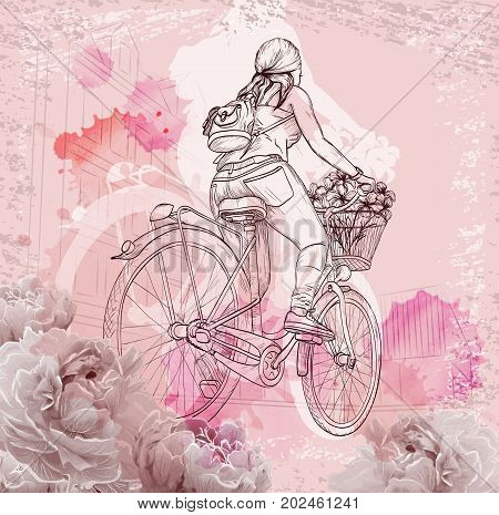 Bicyclist girl on abstract background with watercolor drops and flowers, hand drawn vector illustration
