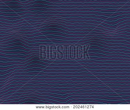 Illustration of Vector Equalizer Frequency Glitch Effect. Digital Sound Wave Distortion Background