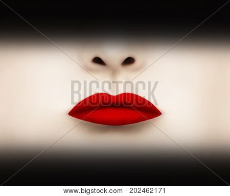 Beautiful red scarlet lips highlighted with black shadow above and below