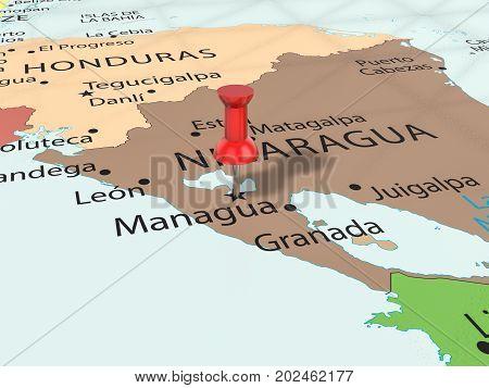 Pushpin On Managua Map  3D Illustration