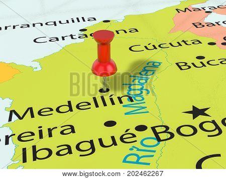 Pushpin On Medellin Map  3D Illustration