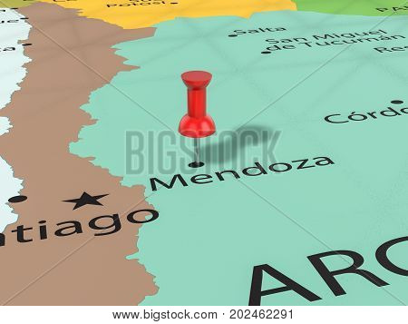 Pushpin On Mendoza Map  3D Illustration