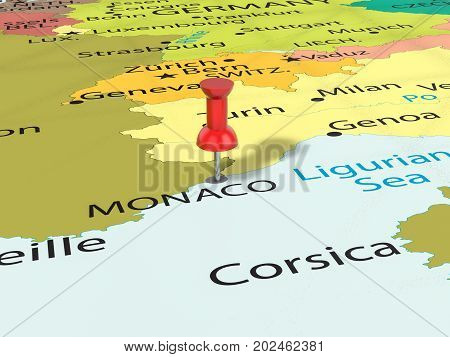 Pushpin On Monaco Map  3D Illustration