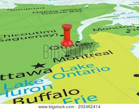 Pushpin On Montreal Map  3D Illustration