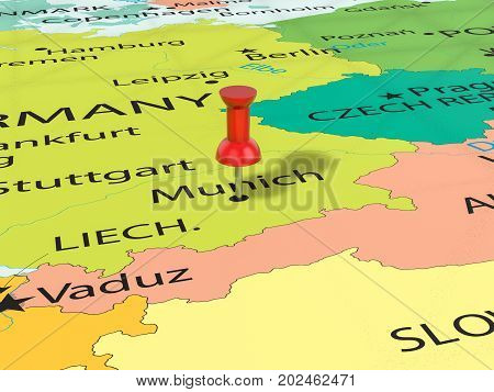 Pushpin On Munich Map  3D Illustration