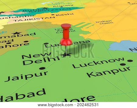 Pushpin On New Delhi Map  3D Illustration