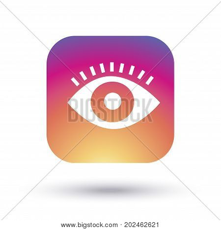 eye icon, view icon, eye logo concept design, eye label isolated on white background with shadow, eye symbol, vector illustration