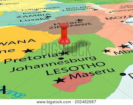Pushpin On Pretoria Map  3D Illustration