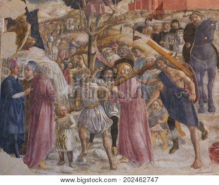 Siena Baptistery - Fresco Of The Road To Calvary