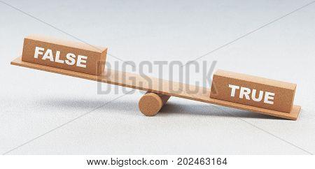 True or false on balance, words, 3d render illustration