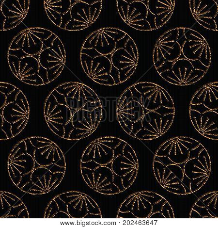 Seamless pattern based on japanese sashiko motif Mitsu Ume (Plum blossoms). Abstract backdrop. Golden color. Simple pattern for web page background, surface textures or pattern fills.