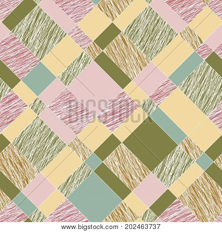 Scratched plaid texture. Seamless pattern. Colorful abstract tartan. Pink and green scratched waves. Plaid grunge texture. For wallpaper, web page background or pattern fills.