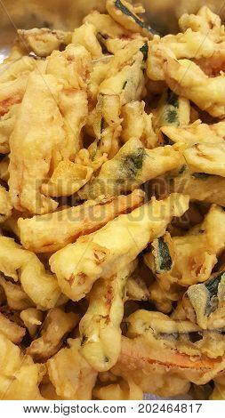group of fresh fried mixed fish and vegetables