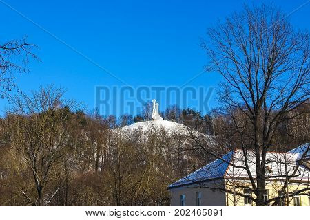 Monument of Three Crosses on the Bleak Hill at the dawn time in Vilnius, Lithuania.