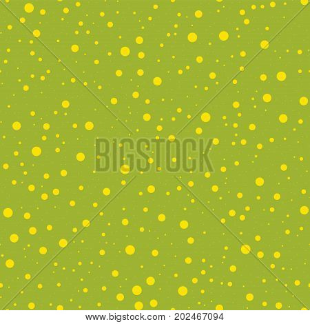 Yellow Polka Dots Seamless Pattern On Green Background. Splendid Classic Yellow Polka Dots Textile P