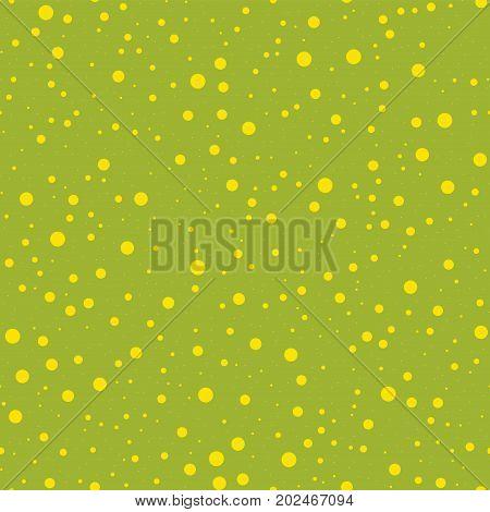 Yellow Polka Dots Seamless Pattern On Green Background. Splendid Classic Yellow Polka Dots Textile P