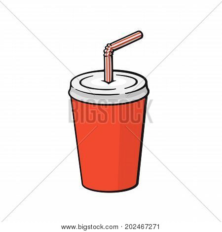 Vector illustration. Disposable paper cup with soda and straw. Dice-box with carbonated cold drink. Image in cartoon style with contour. Unhealthy food. Isolated on white background