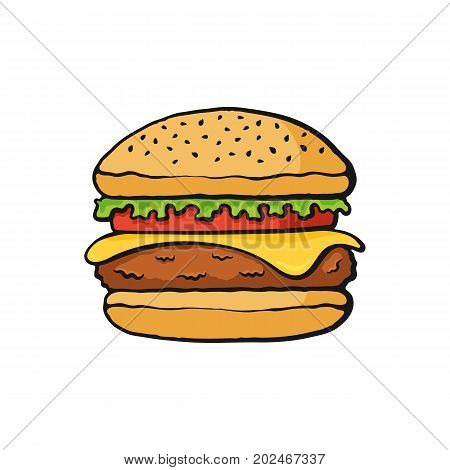 Vector illustration. Hamburger with cheese, tomato and salad. Big beef burger with vegetables. Image in cartoon style with contour. Unhealthy food. Isolated on white background