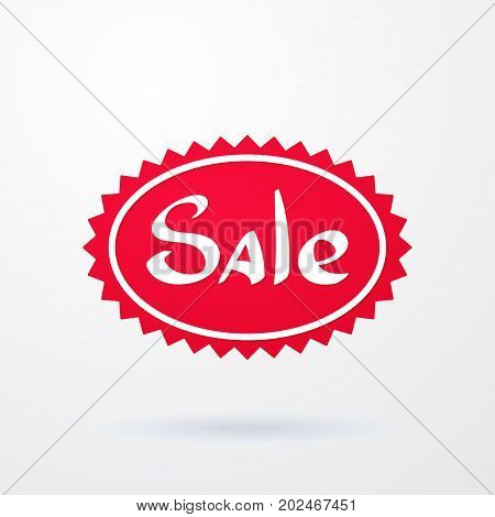 Vector illustration oval red tag of special offer sale with spiked contour. Discount price label. Sale promo marketing of advertising campaign in retail for shopping days. Isolated on white background