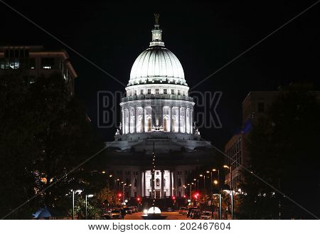 Wisconsin State Capitol building National Historic Landmark. Madison Wisconsin USA. Night scene horizontal composition.