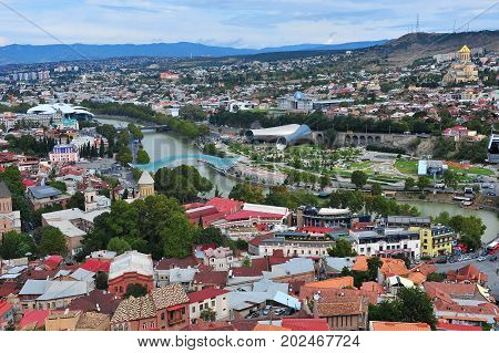 TBILISI GEORGIA - SEPTEMBER 28: Panorama of Tbilisi city capital of Georgia on September 28 2016. Tbilisi is a capital and largest city of Georgia.