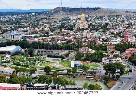 TBILISI GEORGIA - SEPTEMBER 28: Panorama of Tbilisi downtown city of Georgia on September 28 2016. Tbilisi is a capital and largest city of Georgia.
