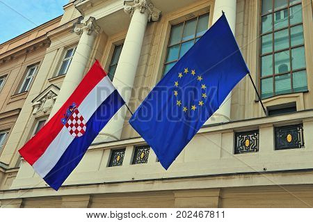 Flags of Croatia and European Union on the building