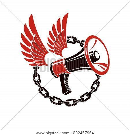Vector winged illustration composed with loudspeaker equipment surrounded by iron chain. Propaganda as the means of influence on public opinion