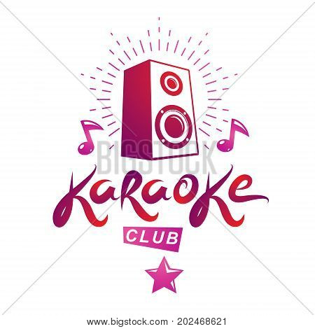 Karaoke club vector emblem created using musical notes and subwoofer discotheque amplifier design elements for karaoke club flyers cover design.