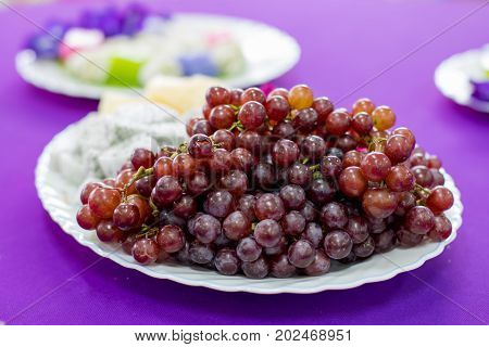 Delicious  Fruit , Grapes, Dragon Fruit , Melon  On The White Bowl , Healthy Food For Everybody With