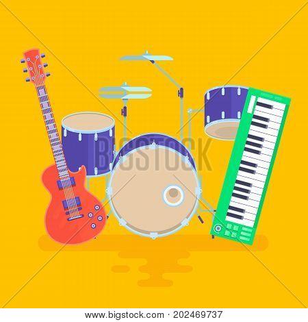 Musical Instruments Set Guitar Drums Rock Band Flat Vector Illustration